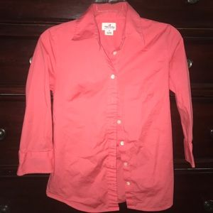 J Crew 3/4 Sleeve Coral Fitted Button Down